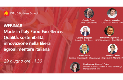 "Appuntamento ISTUD con il Webinar ""Made in Italy Food Excellence"""